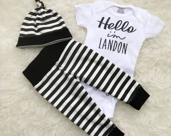Featured listing image: Striped 'Hello' Personalized Set