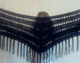 Black Shawl Handmade, Fashion Knit Shawl, Fringe black shawl with lurex thread, Winter Shawl, Crochet Black Shawl, Knit Triangle Shawl