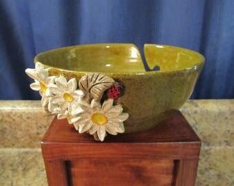 Daisy Flower & Ladybug Yarn Bowl