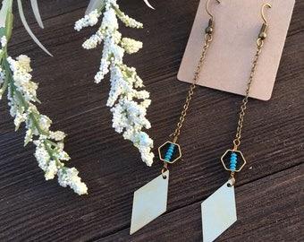 Geometric turquoise long earrings