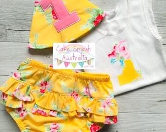 Flower Sugar Yellow Girls 3pc Cake Smash Outfit/ 1st Birthday Ruffles Sz 1