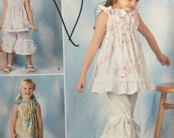 ON SALE Simplicity 1628A Child's Dress, Top and Pants Sewing Pattern, Ruffled Dress, Ruffled Pants, Ruffled Top, Summer Dress, Pantaloon Pan