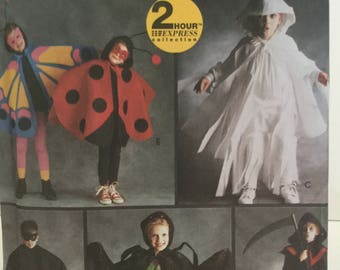 Halloween Costume, Simplicity 8279, Bandit, Grim Reaper, Ghost, Spider, Lady Bug, Butterfly,Children Costumes, Cape,Mask,School Play Costume
