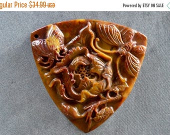 15% off SALE Carved Stone Pendant Flower Peony Pendant 59x59x9mm Flame Jasper Hand Carved Natural Gemstone Stone Pendant Triangle