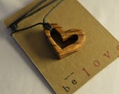 Open Heart Zebrawood Pendant