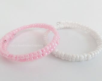 Beaded Pink or White Pearlized Memory Wire Bracelet, Beaded Memory Wire, Bracelet, Wrap Bracelet, Gift For Her,  Popular Bracelet