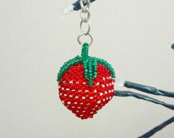Strawberry Beaded Keychain GA5/Keychain/Strawberry/Gift idea/Accessory/Key Ring/