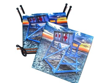 Asbury Park Lifeguard Chair Coasters / Ceramic Tile Drink Coaster(s) / Historical Asbury Park New Jersey / Sold in Set of 4 or Individually