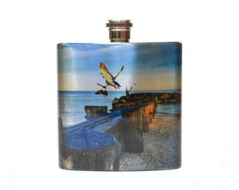 Jersey Shore Gift / Cape May New Jersey Pocket Flask / Beach Wedding Favors / Flask for Women / Flask for Men