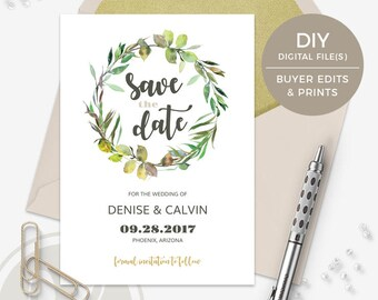 Editable PDF Wedding Announcement - Wreath Save the Date, Rustic Save the Date, Leaf Wreath Save the Date Card, Watercolor Save the Date