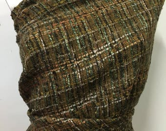 Coupon 2 meters woven basket weave wool dyed green/brown/gold tone, soft, fluffy and soft. LOT 87 B.