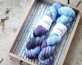 Garage Band | Tasman Sock |  hand-dyed yarn  |  blue grey black pink |  SW Merino Nylon 4 ply