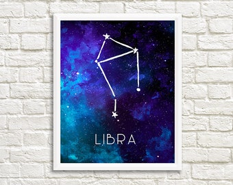 Libra Constellation, Art Print, Watercolor, Blue, Aqua, Aquamarine, Night Sky, Space, Stars, Horoscope, Digital File, Instant Download