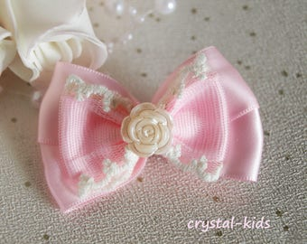 Stunning Girls Pink Satin Grosgrain Lace Hairbow Alligator Hair Clips *** MADE TO ORDER ***