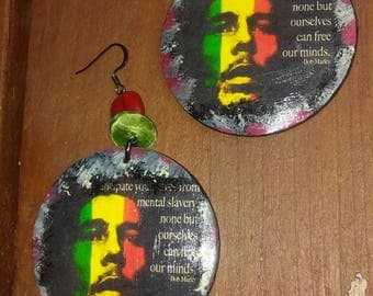 Bob Marley Handpainted Decoupaged Earrings, Bob Marley Earrings, Bob Marley, Tribal Print Earrings, Tribal Print