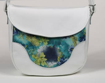 White and Floral Leather Shoulder/Crossbody Bag