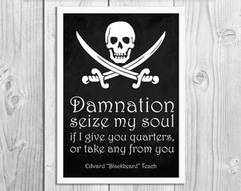 Pirate Art Print Poster - Damnation - Blackbeard Quote - Pirate Wall Decor, Inspirational Print, Home Decor, Pirate Gift