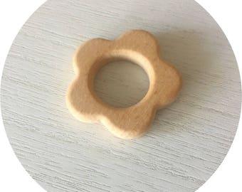 Flower natural wooden teething ring