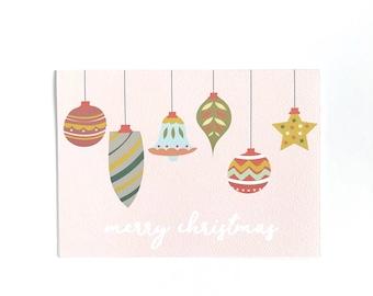Merry Christmas card, Ornaments