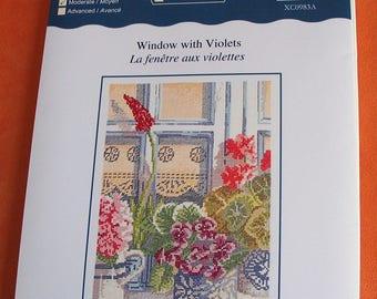 Kit DMC counted cross stitch violets window