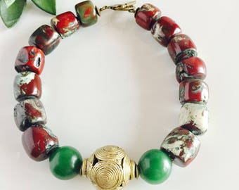 Africa Inspired Genuine Green and Brass Statement Necklace