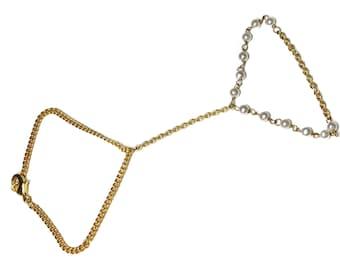 Slave bracelet, 14 karat gold vermeil bracelet, ring bracelet,Slave ring, pearl slave ring, gold chain bracelet, silver slave bracelet