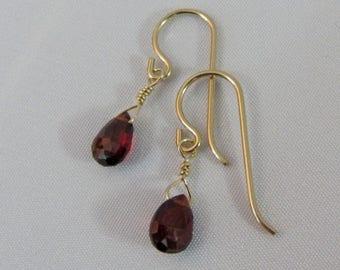 14K Gold Filled Garnet Earrings, Mozambique Garnet, Red Drop Earrings, Gemstone Earrings, Briolette Earrings, January Birthstone Gift