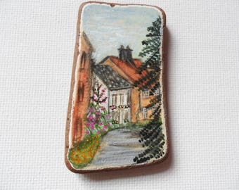 The village of Lavenham England - Acrylic miniature painting on English sea pottery