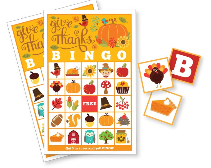 Thanksgiving BINGO Game - Kid's Printable Bingo Game - Bingo Game for Kids & Adults - Thanksgiving Party Game - Fall Bingo, Instant Download