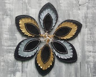 Bohemian Style Leather Earrings. Black Leather Earrings. Large Bohemian Earrings. Gold Silver Boho Earrings. Bohemian Leather Jewelry.