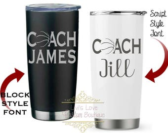Basketball Coach Gift - Coach Mugs Engraved 20 oz Stainless Steel Coffee Tumbler Vacuum Insulated Travel To-Go Mug coffee cup thermos