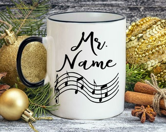 Music teacher gift Personalized piano teacher mug gift for musician without music life would be flat teacher gift ceramic dishwasher safe