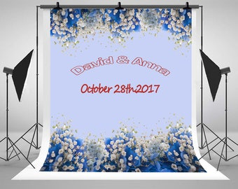 White and Blue Flowers Photography Backdrops Customization Purple Photo Backgrounds for Wedding Studio Props