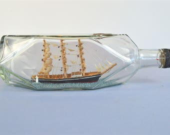 Superb antique scratch built ship in a bottle 3 masted tall sailing ship English circa.1930