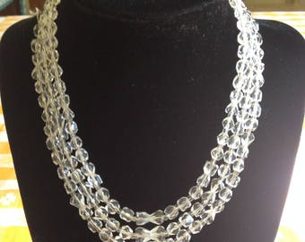 Three Strand Vintage Austrian Crystal Necklace