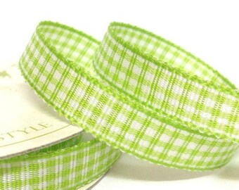 10mm Lime Green Gingham Ribbon