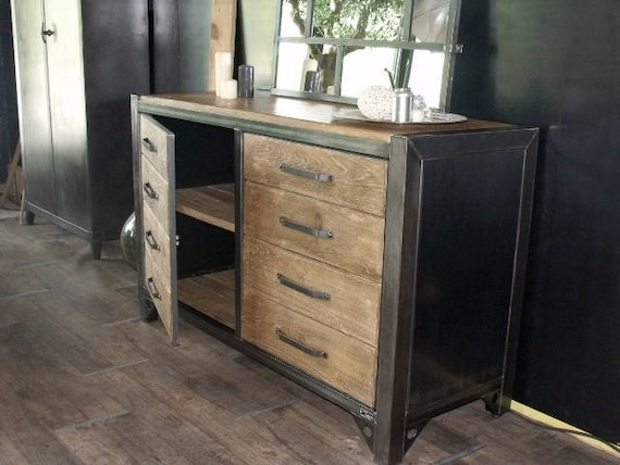 bahut bois acier style industriel atelier sur mesure. Black Bedroom Furniture Sets. Home Design Ideas