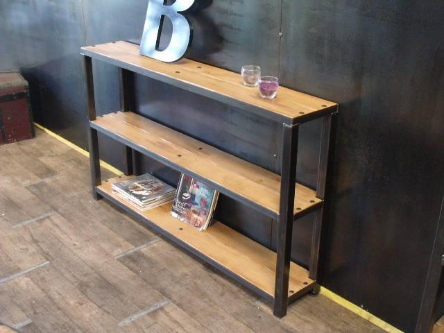 console bois et m tal design industriel sur mesure. Black Bedroom Furniture Sets. Home Design Ideas