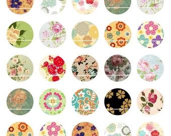 147 # flowers 35 Images/designs digital 14mm round cabochon