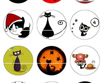 Cat 12 Digital Images/designs for 25/20/18/16/15/14/12/10/8 mm cabochon round