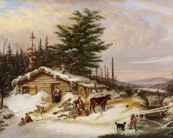 Cornelius Krieghoff: Settler's Log House. Fine Art Print/Poster (004487)