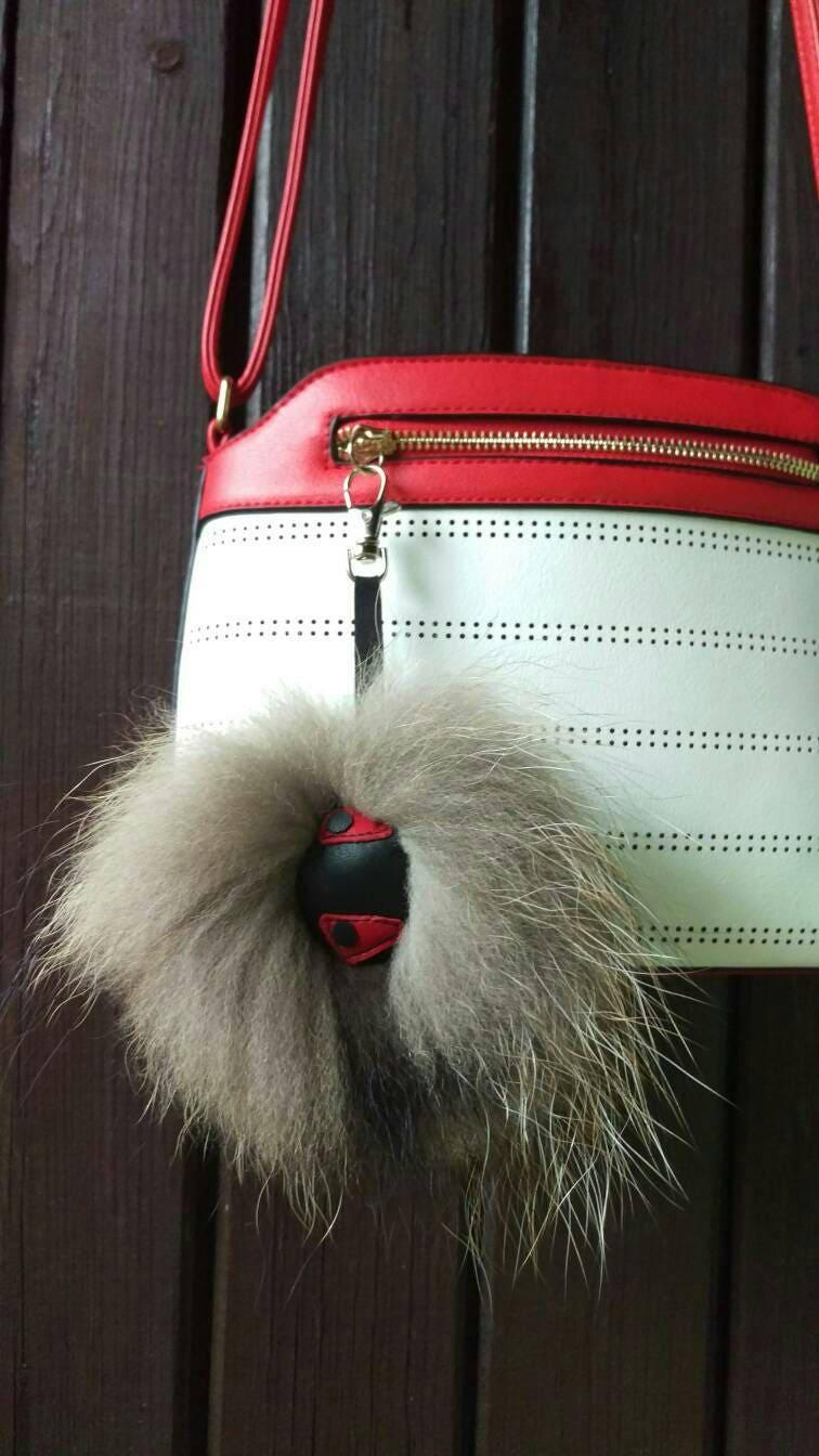 8f9fc5ee32 Monster Fur Pom Pom Monster keychain Real Fur bag Charm Monster Fur Keychain  Handmade Keychain Red