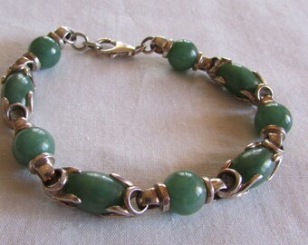 Sterling Silver and Green Stone Link Bracelet