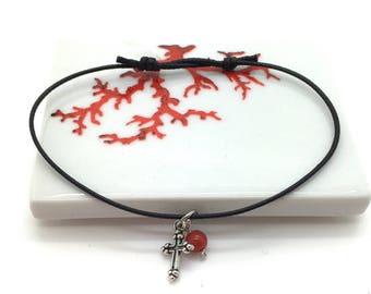 Cross and Pearl String Bracelet genuine coral