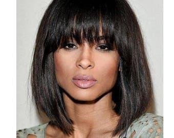 Ciara Inspired 250% Density Straight Short Bob Human Hair Wig With Bangs