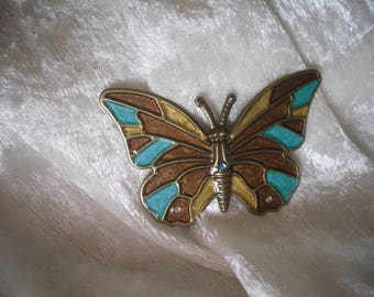 embellishment, multicolored Butterfly turquoise Brown, OOAK