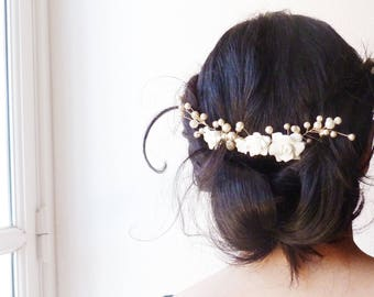 Bridal hair comb gold, pink porcelain white and ivory pearls