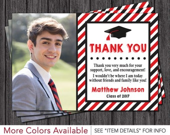 Graduation Thank You Card • Graduation Party Thank You Card • Red and Black