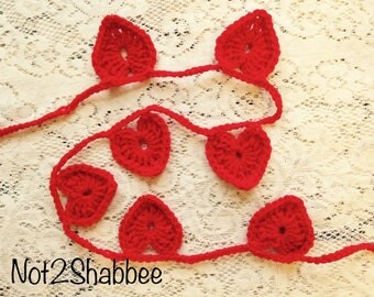 Hand Crocheted Red Hearts Banner ~ Valentine Hearts Banner~ Crocheted Hearts ~ Crochet Banner with Red Hearts ~ Valentine Banner