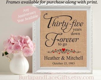 35th Wedding Anniversary Gift to Wife gift to Husband Gift for Wife Gift for Husband 35 years down Frames Available Personalized Gift (206)